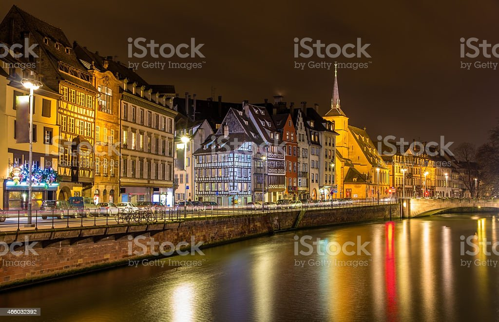 Embankment of the Ill river in Strasbourg - Alsace, France stock photo