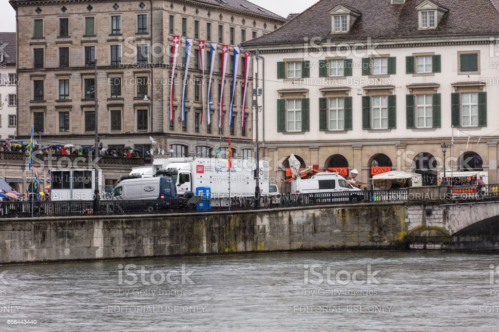 Embankment of the Limmat river in Zurich during the Sechselauten celebration stock photo