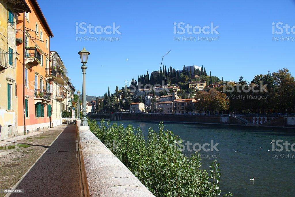 Embankment of the river Adige. Verona, Italy stock photo