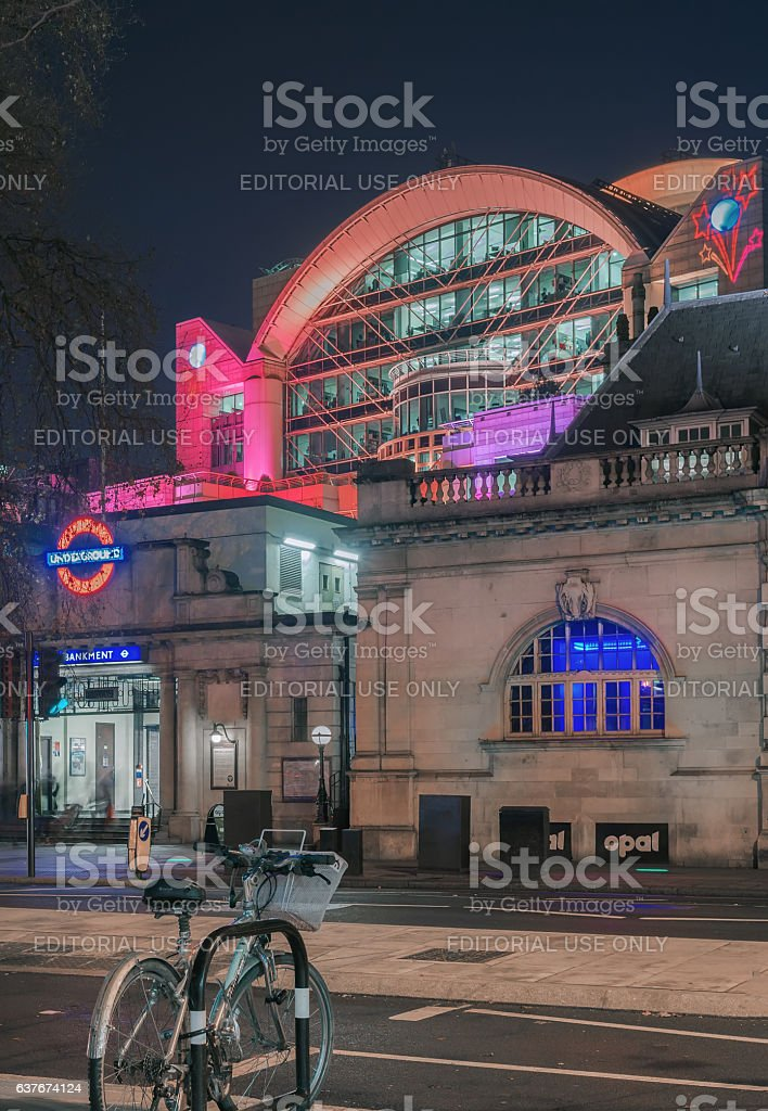 Embankment tube station and Charing Cross stock photo