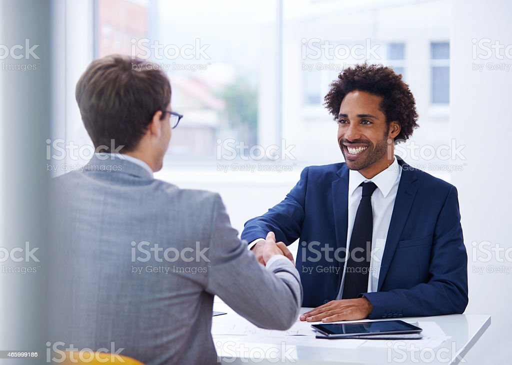 Embarking on a positive business partnership stock photo