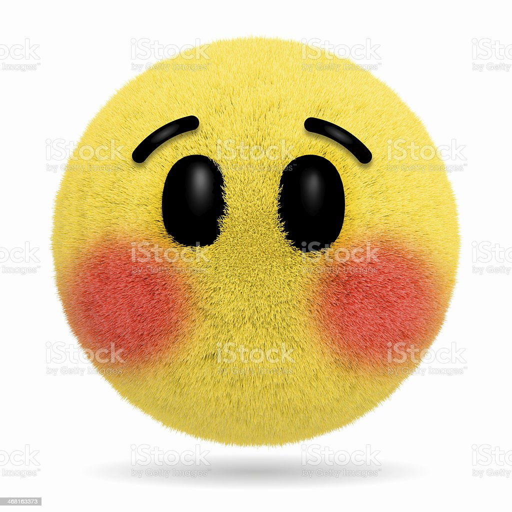 Embarrassed Fur ball emoticon stock photo