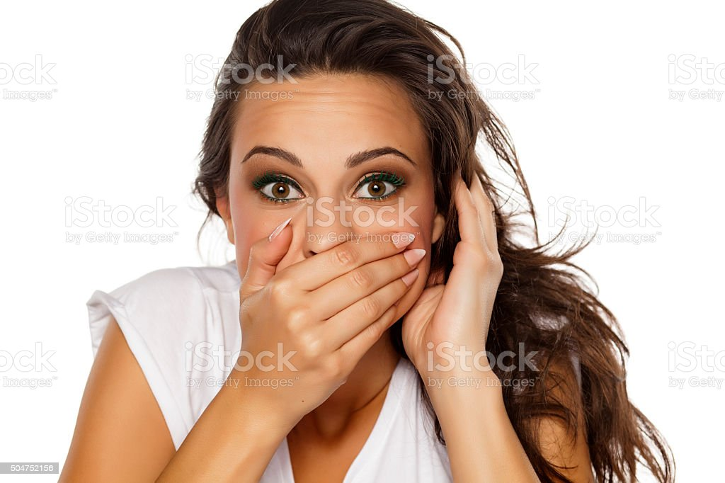 embarrassed woman stock photo