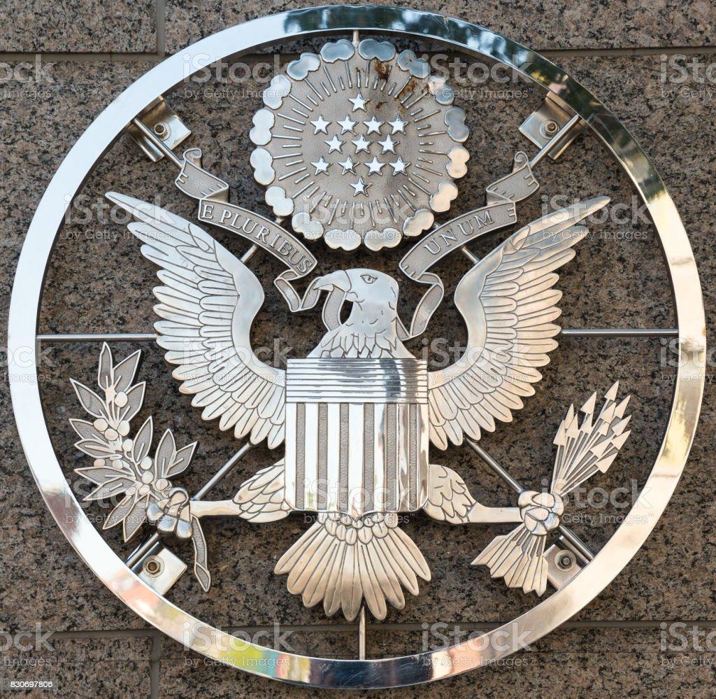 US Embassy emblem in Ottawa Ontario Canada stock photo