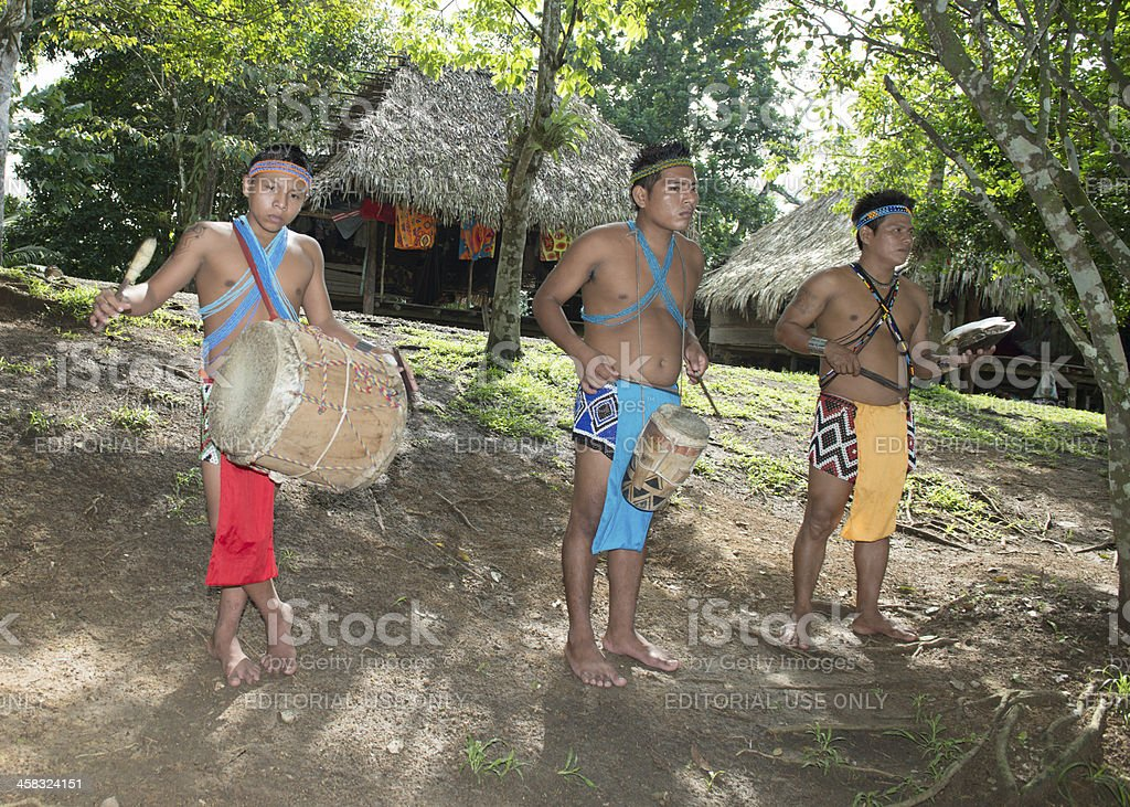 Embera music band stock photo