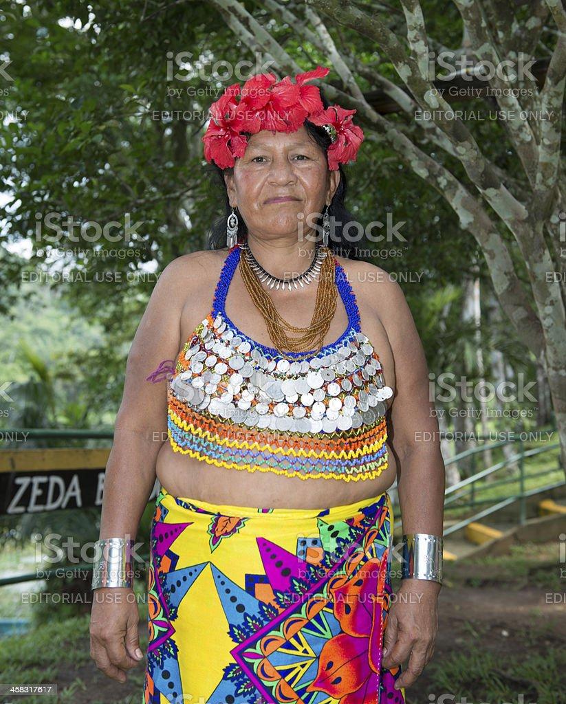 Embera old woman stock photo