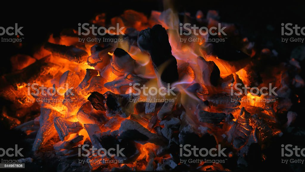 Embers of coal stock photo