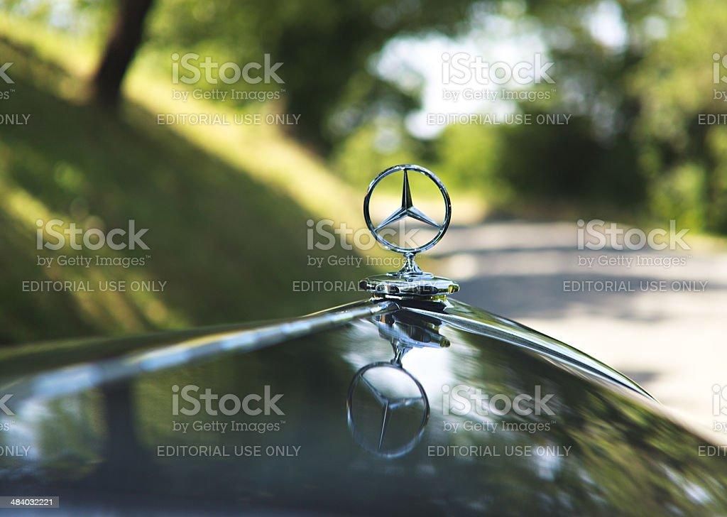 Emblem logo on a Mercedes -Benz Black Torpedo 1935 stock photo