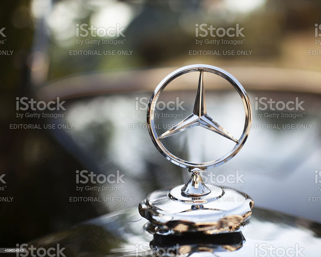 Emblem logo on a Mercedes - Benz stock photo