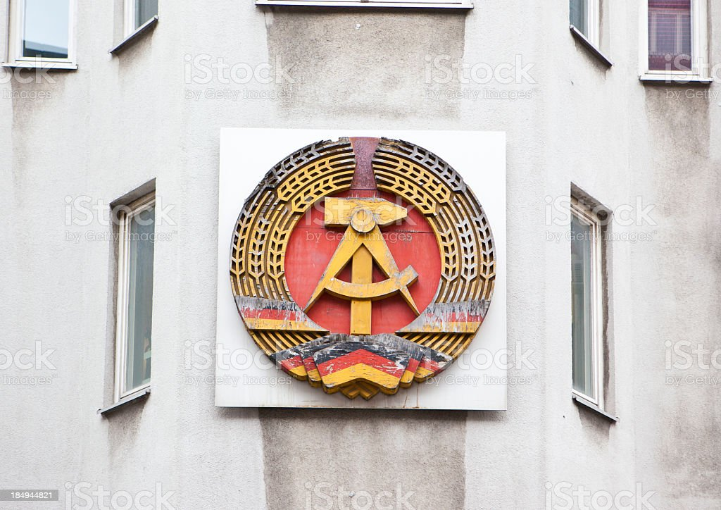 Emblem of former German Democratic Republic stock photo
