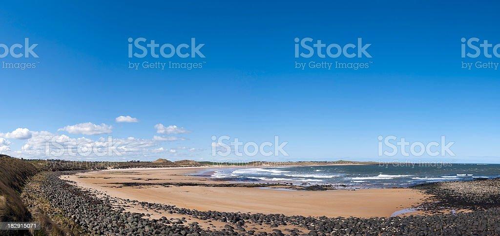 Embleton Bay, panoramic coastal view, Northumberland, UK stock photo