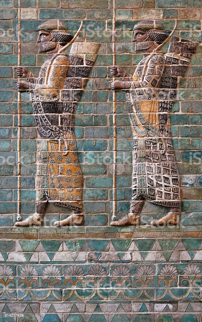 Embossed Colorful Achaemenid Soldiers from Susa of Iran stock photo