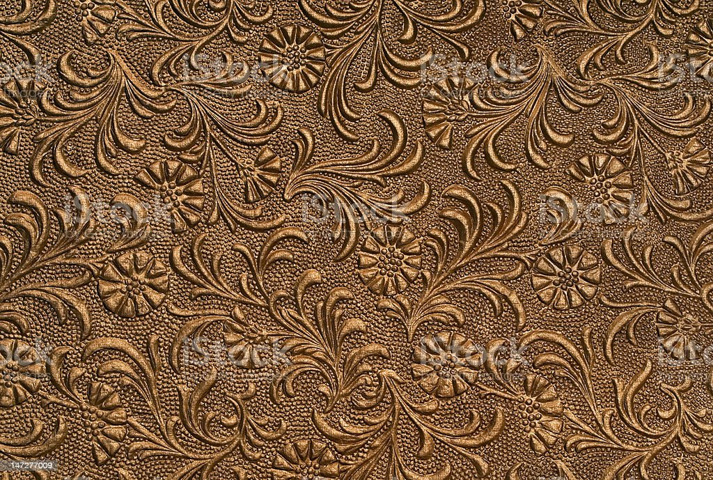 embossed floral panel - copper stock photo
