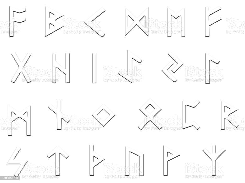 embossed runes illustration on white stock photo