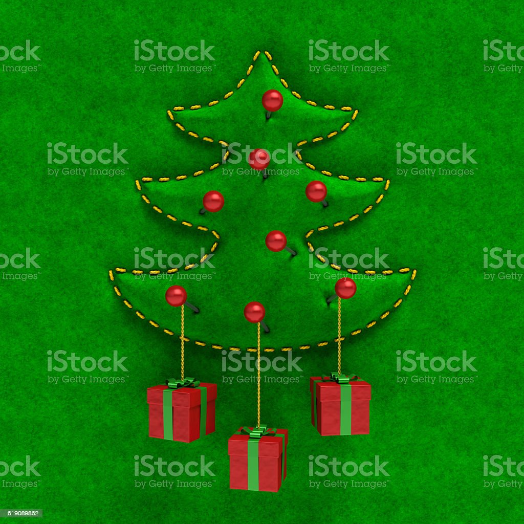 Embossed velvet Christmas tree with gift boxes. Creative festive card stock photo