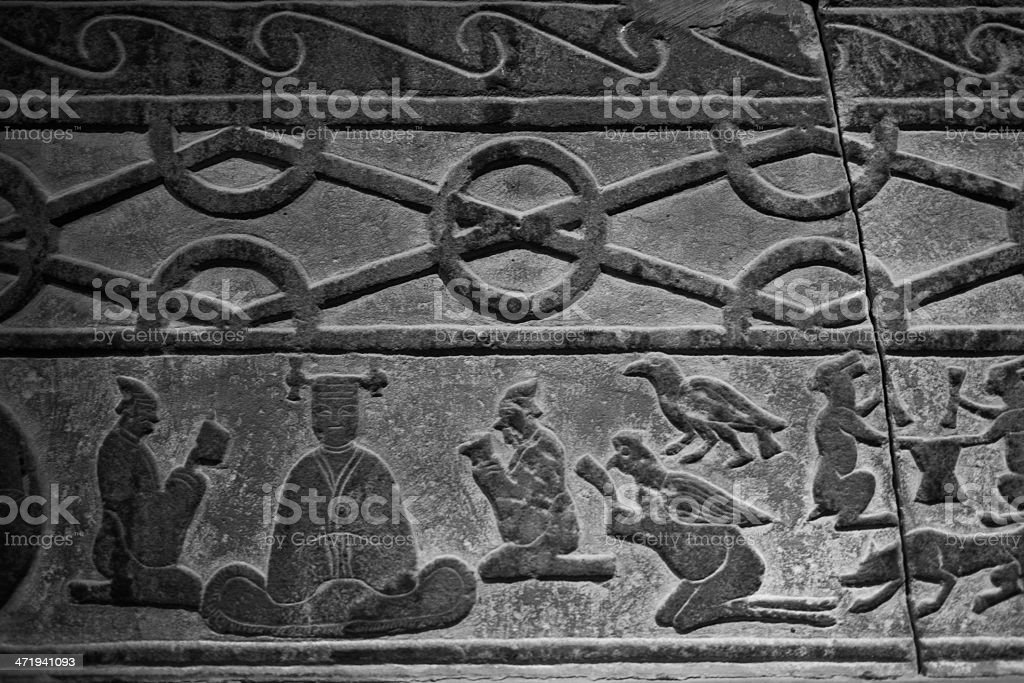 embossment on brick of Tang dynasty stock photo