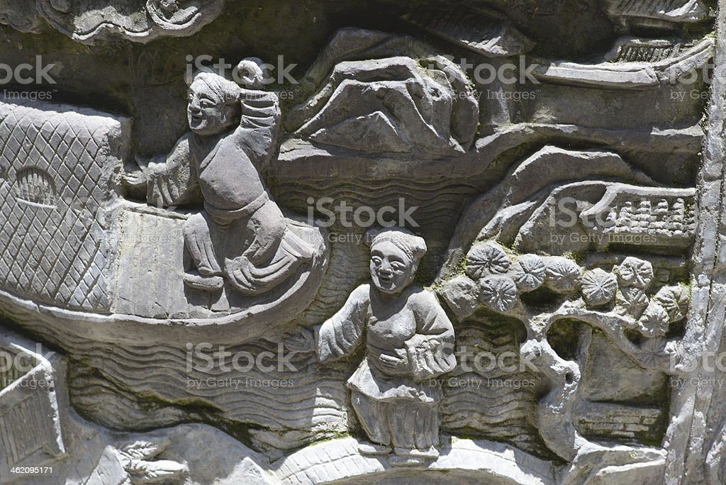 embossment on stone of Ming dynasty stock photo
