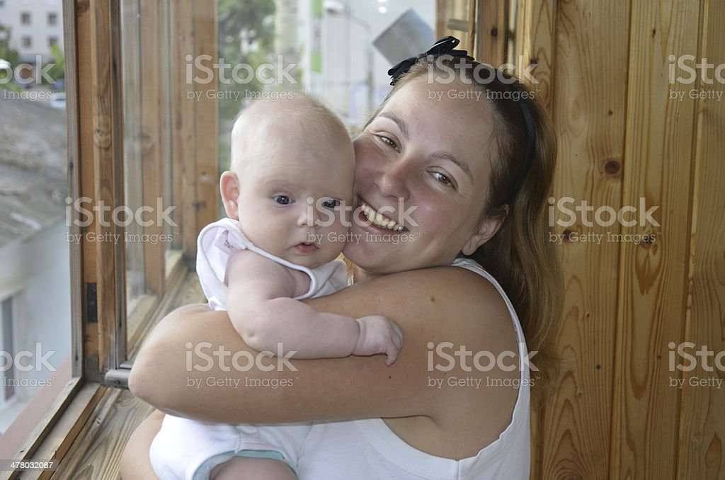 Embrace mother and baby royalty-free stock photo