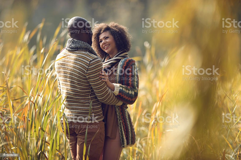 Embraced African American couple standing among tall grass. stock photo