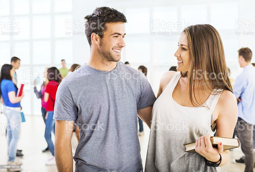 Embraced high school couple. royalty-free stock photo