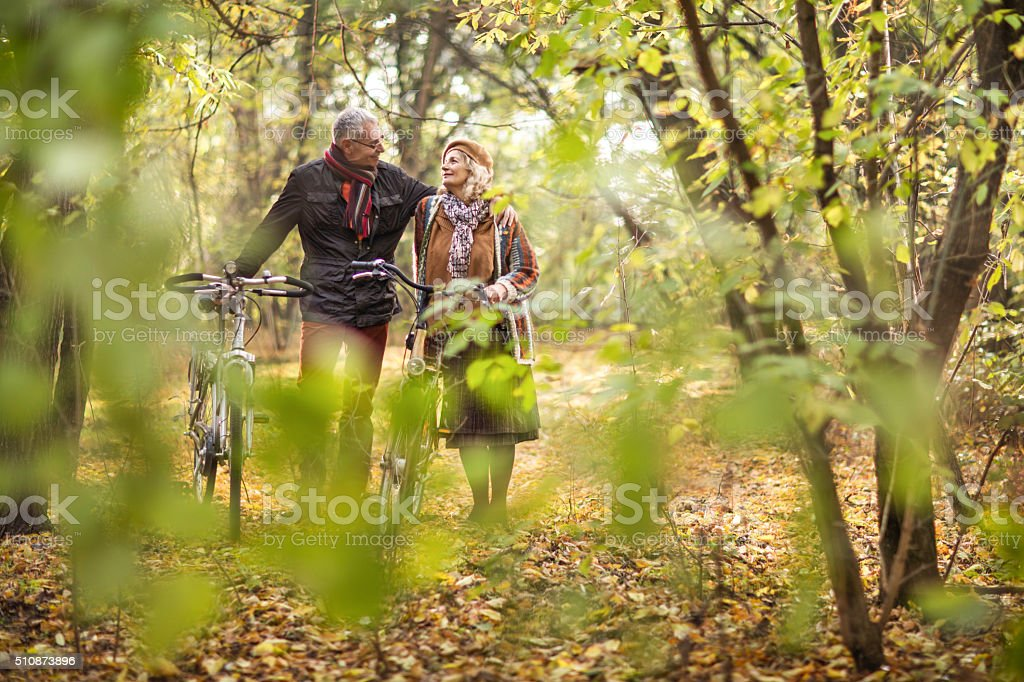 Embraced senior couple with bikes walking in the forest. stock photo