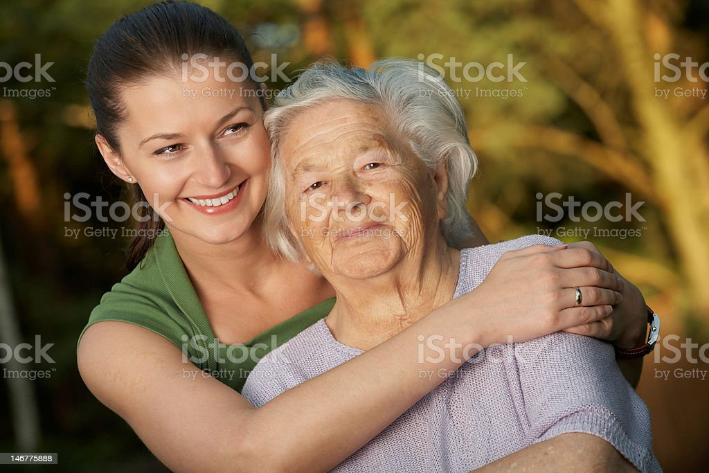 Embracing grandmother royalty-free stock photo