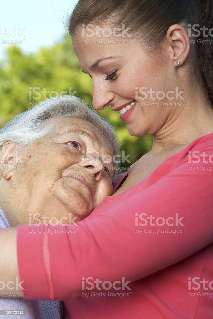 Embracing grandmother royalty-free stock photo