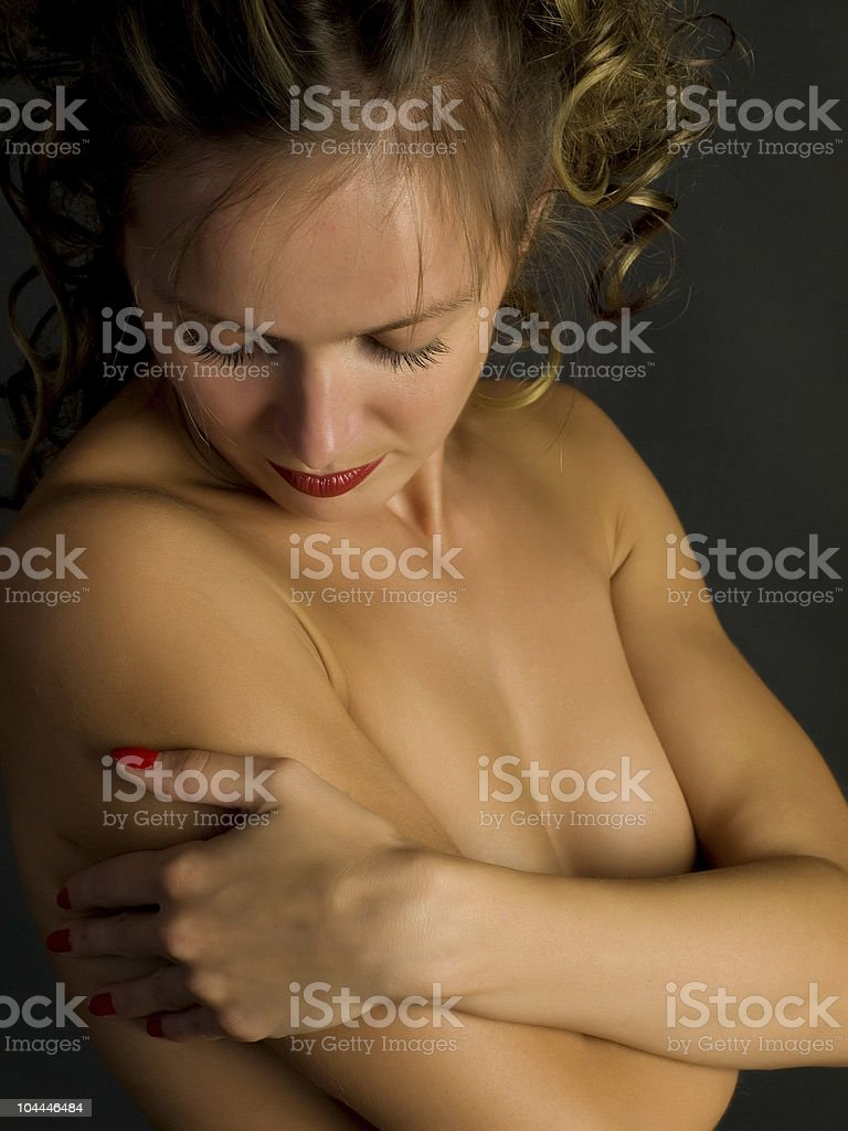 embracing herself royalty-free stock photo