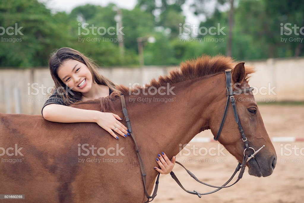 Embracing horse royalty-free stock photo