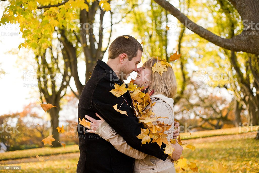 Embracing in the Fall stock photo