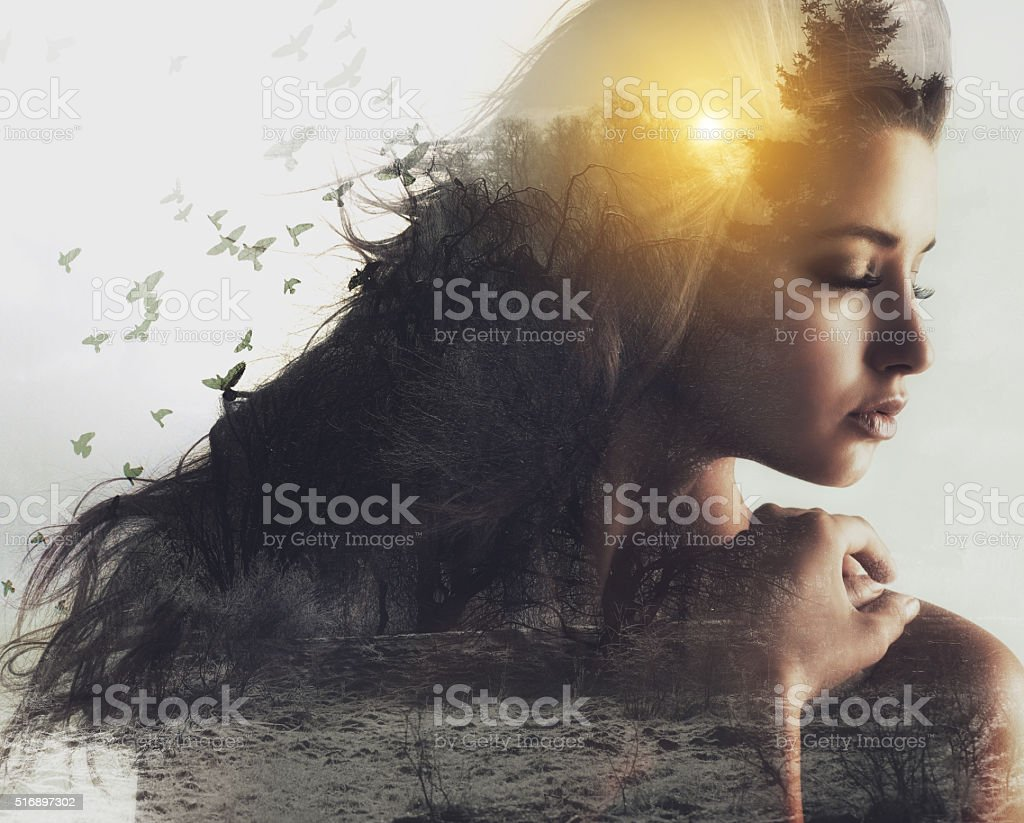 Embracing natural beauty stock photo