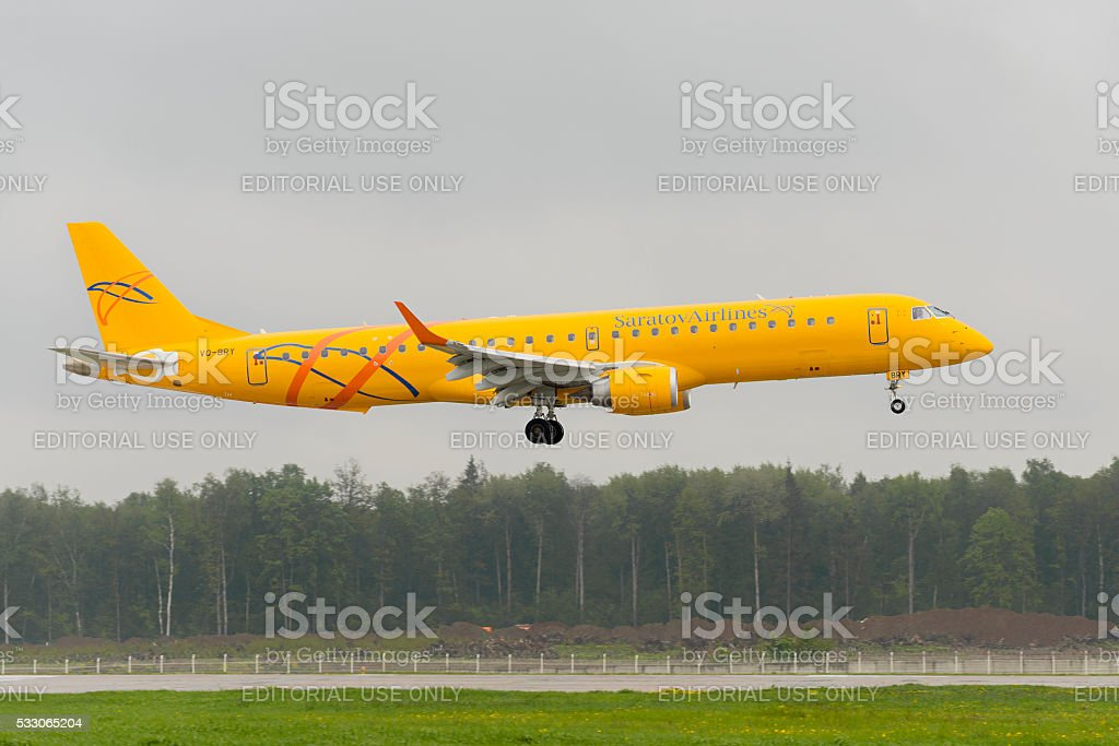Embraer 195LR Saratov airlines landing stock photo