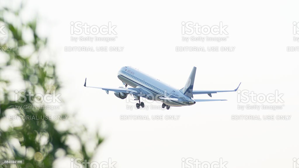 Embraer Jet Airplane Take-off stock photo