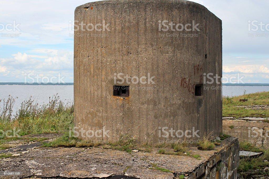 embrasure gun turret sea fort stock photo