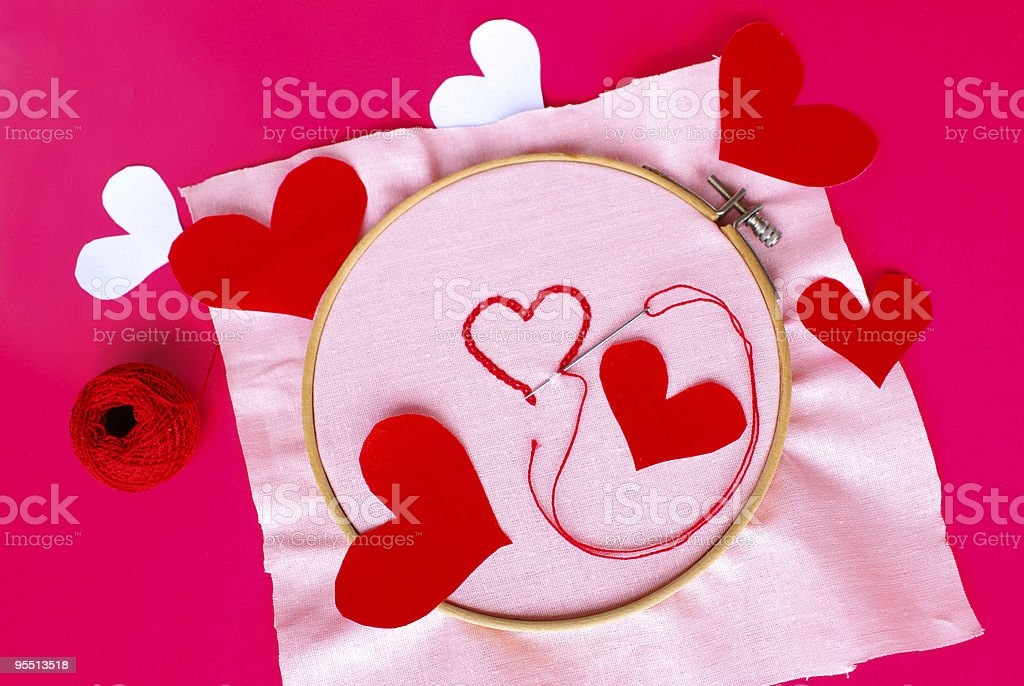 Embroided and paper hearts royalty-free stock photo