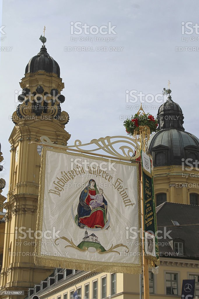 embroided Flag theatinerchurch oktoberfest stock photo