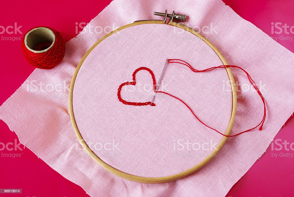 Embroided heart royalty-free stock photo
