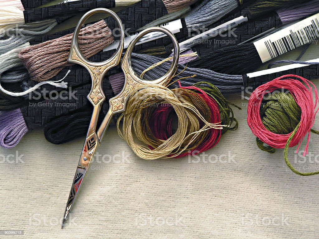 Embroider threads stock photo