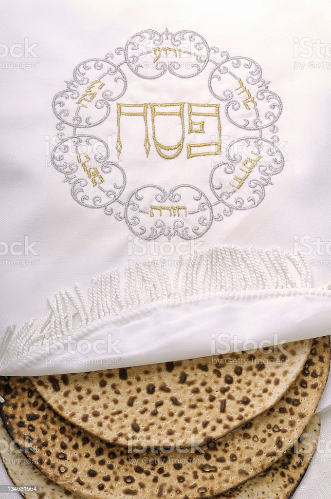 embroidered bag of passove matzo royalty-free stock photo