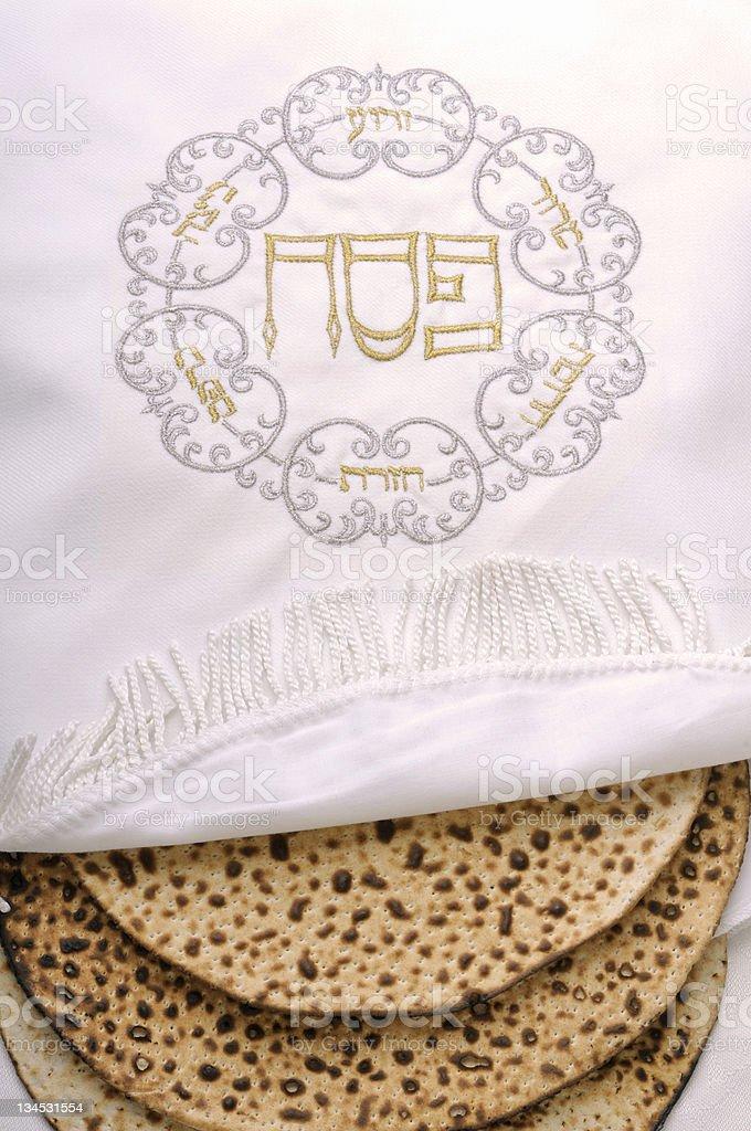 embroidered bag of passove matzo stock photo