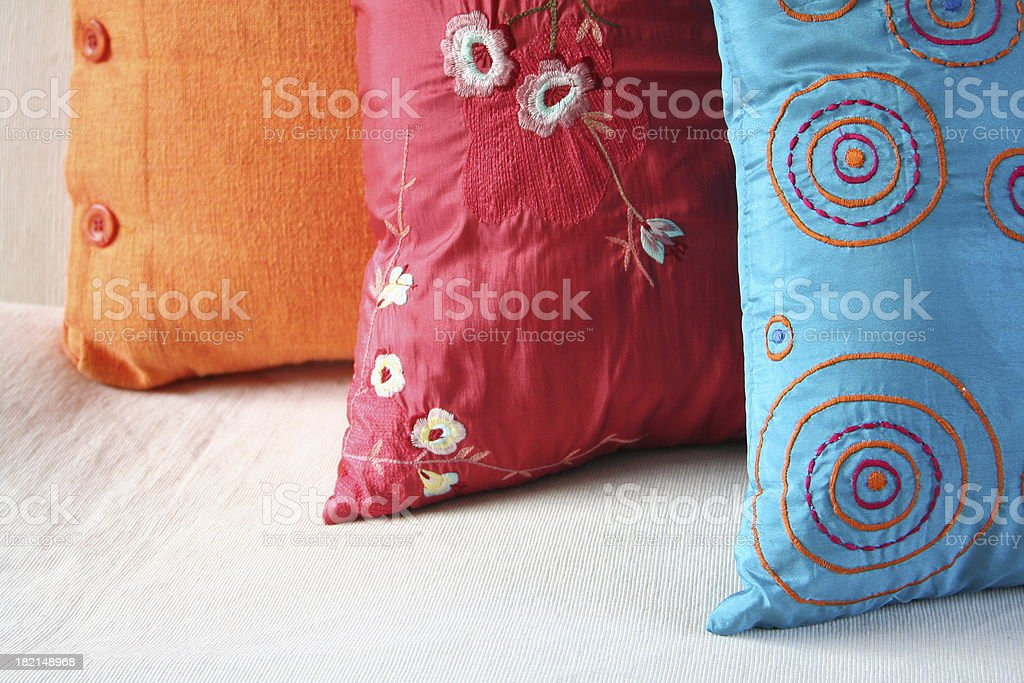 Embroidered Cushions stock photo