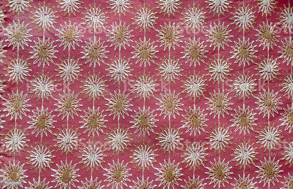 Embroidered fabric detail from India royalty-free stock photo