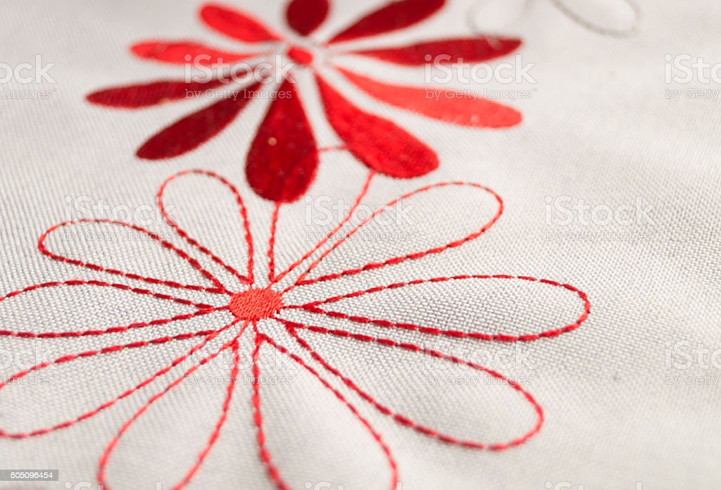 embroidered flowers stock photo