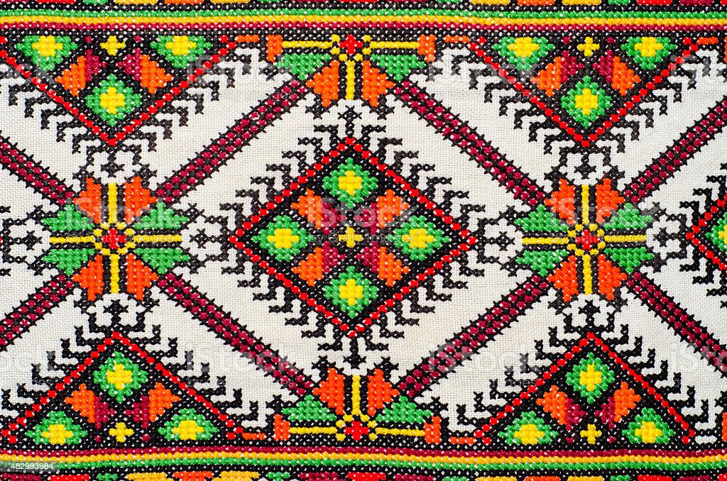 embroidered good by cross-stitch pattern stock photo