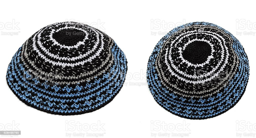 Embroidered jewish kipas stock photo