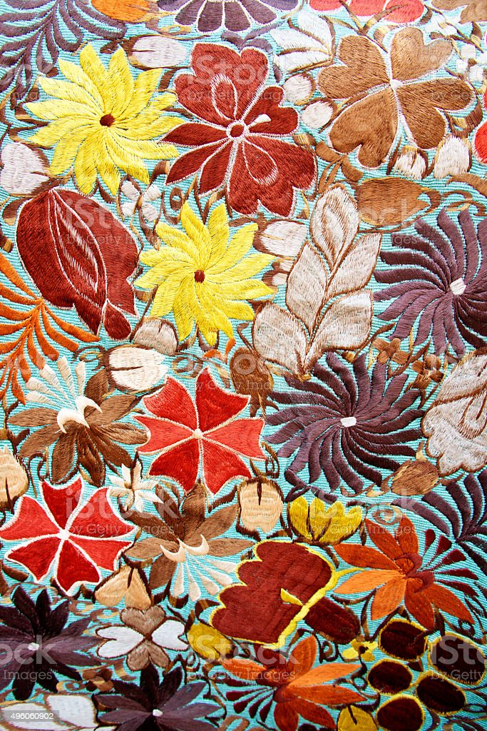 Embroidered Mexican Floral Traditional Textile Pattern stock photo