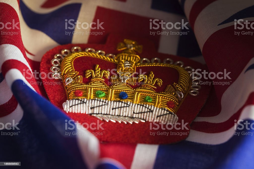 Embroidered Queens Crown Badge and Union Jack stock photo