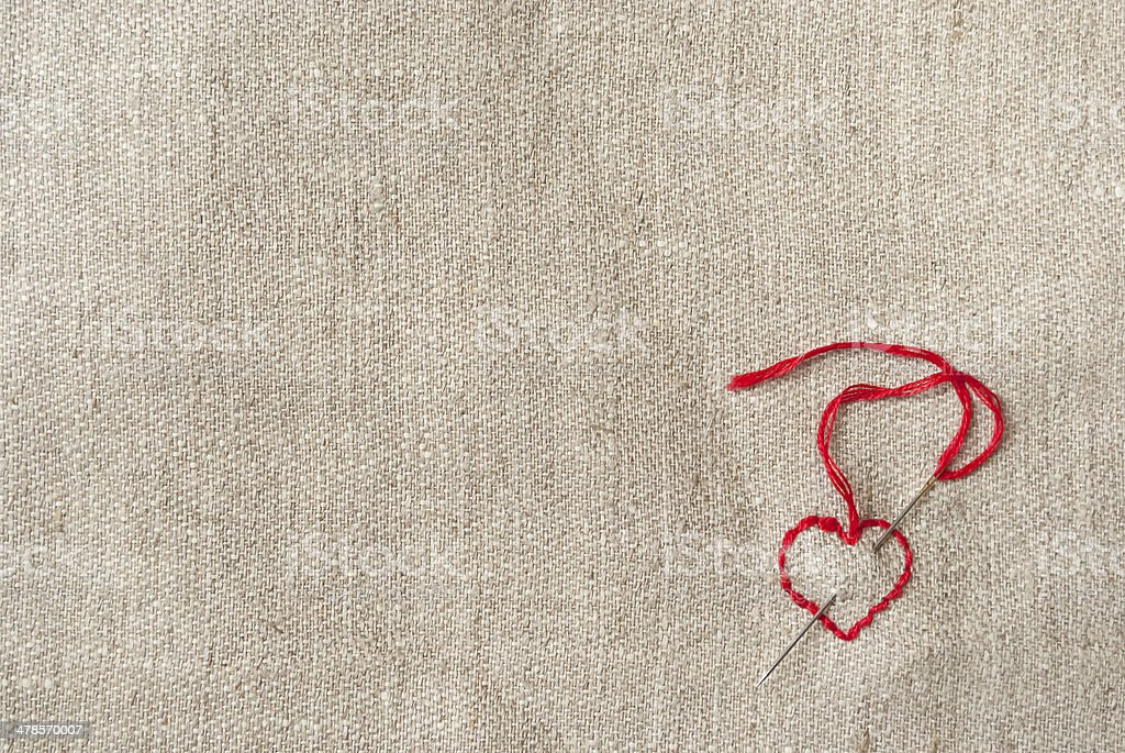 embroidered red heart stock photo