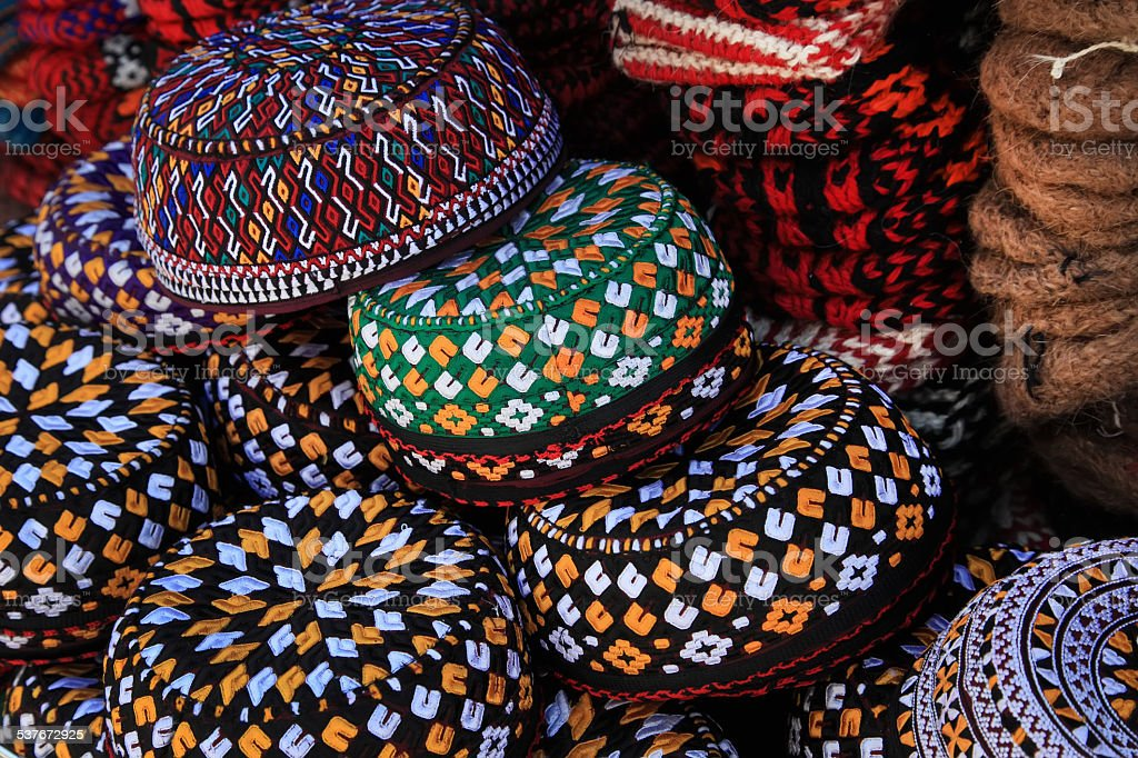 Embroidered skull-caps. Turkmenistan. Ashkhabad stock photo