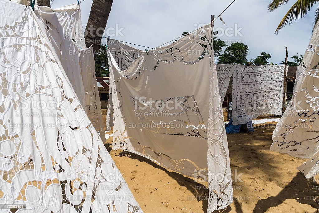 Embroidered tablecloths stock photo